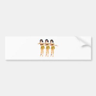 3 Hulas Bumper Sticker