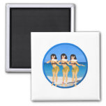 3 Hulas on beach 2 Inch Square Magnet