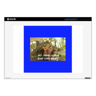 """3 Hungry Baby Birds In Nest 15"""" Laptop Skin"""