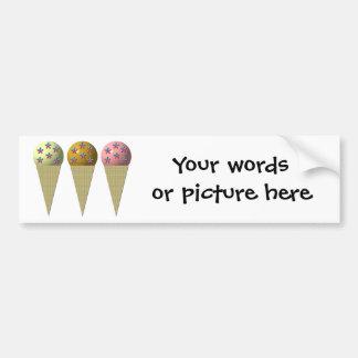3 ice cream cones: Vanilla, chocolate & strawberry Bumper Sticker