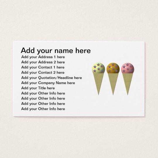 3 ice cream cones: Vanilla, chocolate & strawberry Business Card