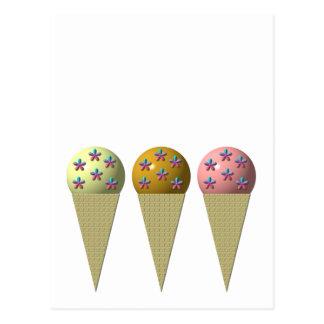 3 ice cream cones: Vanilla, chocolate & strawberry Postcard