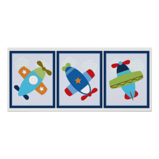 3 in 1 Airplanes 8x10 inch Nursery Art Poster