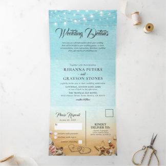 3 in 1 Beach Destination Wedding Tri-Fold Invitation