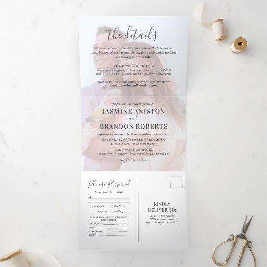3 in 1 Photo Overlay Wedding Tri-Fold Invitation