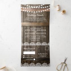 3 in 1 Rustic Baby's Breath Wedding Tri-Fold Invitation