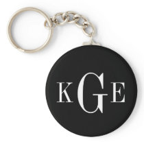 3 initial monogram black white groomsmen key fob basic round button keychain