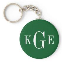 3 initial monogram green white groomsmen key fob