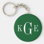 3 initial monogram green white groomsmen key fob keychain