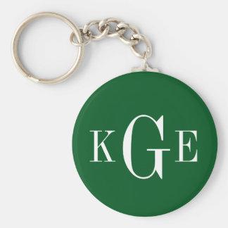 3 initial monogram green white groomsmen key fob keychains