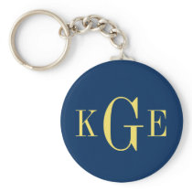 3 initial monogram navy yellow groomsmen key fob basic round button keychain