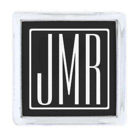 3 Initials Monogram   Black & White (or diy color) Silver Finish Lapel Pin