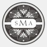 3 Initials Monogram stickers:Black And Silver Classic Round Sticker