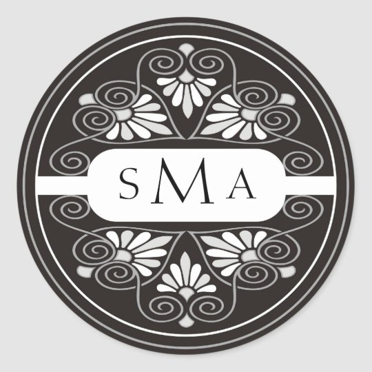 3 Initials Monogram stickers:Black And White Classic Round Sticker