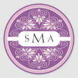 3 Initials Monogram stickers: Pink And Purple