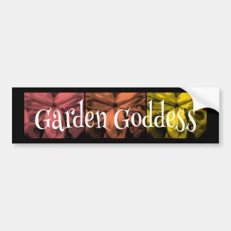 """3 Irises: """"Garden Goddess"""" Sunset1 colors Car Bumper Sticker"""