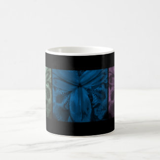 "3 Irises: Row of Blooms ""Cool Forest 2"" White Mug"