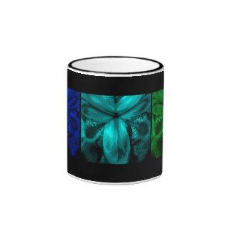 "3 Irises: Row of Blooms ""Tropical Isle"" Ringer Mug"