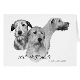 3 Irish Wolfhound heads Card
