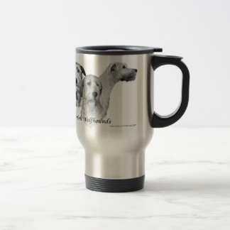 3 Irish Wolfhound heads Travel Mug