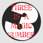3 is a Magic Number Round Stickers