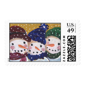 3 Jolly Snowmen Postage Stamps