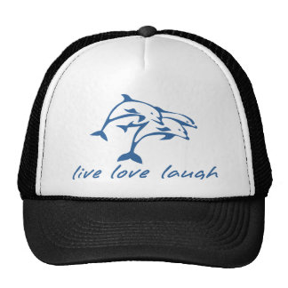 3 jumping dolphins, live, love laugh! trucker hat