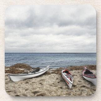 3 kayaks on beach beverage coaster