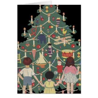 3 Kids and A Christmas Tree - Vintage Illustration Card