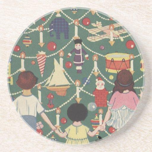 3 Kids and A Christmas Tree - Vintage Illustration Beverage Coaster