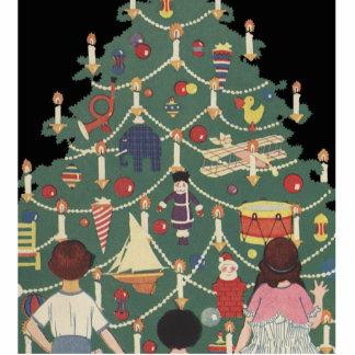 3 Kids and A Christmas Tree - Vintage Illustration Cutout