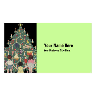 3 Kids and A Christmas Tree - Vintage Illustration Double-Sided Standard Business Cards (Pack Of 100)