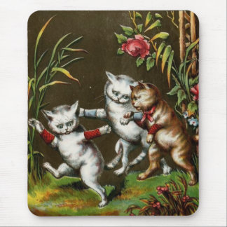 3 Kittens Playing in the Garden Mouse Pad