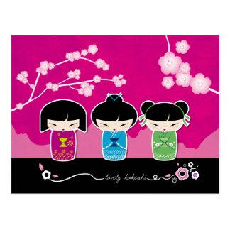 3 Kokeshi postcard
