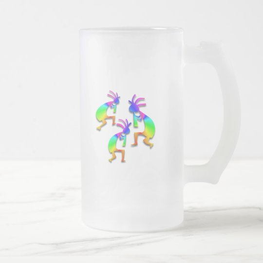3 Kokopelli #46 Frosted Glass Beer Mug