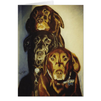 """3 Labradors"" Greeting Card"
