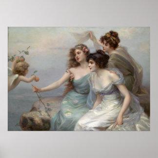 3 Ladies and Angel Print