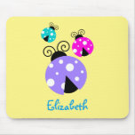 3 Ladybugs in Purple Pink and Blue Personalized Mouse Pad
