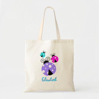 3 Ladybugs in Purple Pink and Blue Personalized Tote Bag
