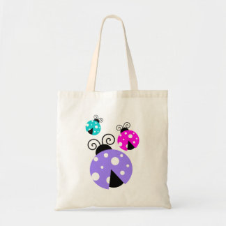 3 Ladybugs in Purple Pink and Blue Tote Bag