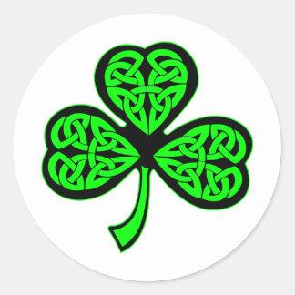 3 Leaf Celtic Shamrock Round Stickers