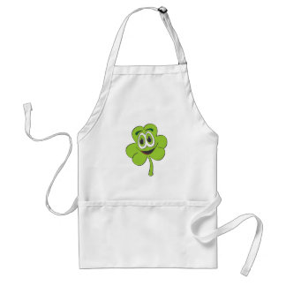 3 Leaf Clover Cartoon Adult Apron
