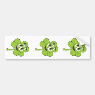 3 Leaf Clover Cartoon Car Bumper Sticker