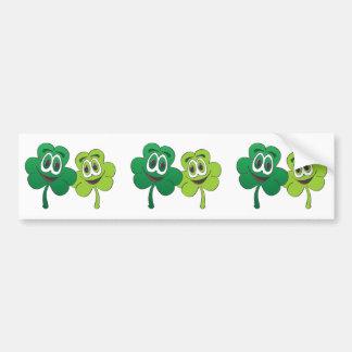 3 Leaf Clover Pair Cartoon Car Bumper Sticker