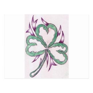 3 leaf clover postcard
