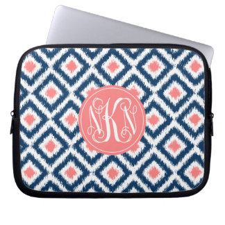 3-Letter Monogram Coral and Blue Ikat Pattern Laptop Computer Sleeve