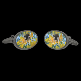 3-Letter Monogram Yellow Daisies Custom Gunmetal Finish Cufflinks