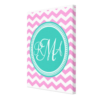 3 letter script monogram white text canvas print