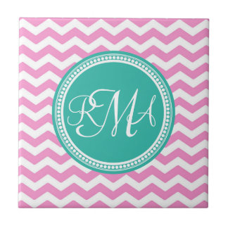 3 letter script monogram white text ceramic tile