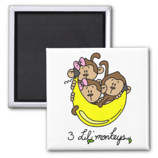 3 Li'l Monkeys Tshirts and Gifts 2 Inch Square Magnet
